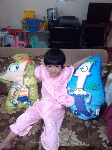 Bianca with her 'brothers' Phineas and Ferb